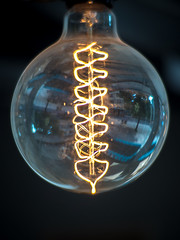 Double helix shaped filaments in a light bulb