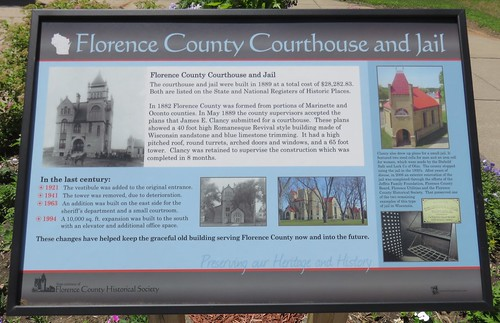 Florence County Courthouse and Jail Marker (Florence, Wisconsin)