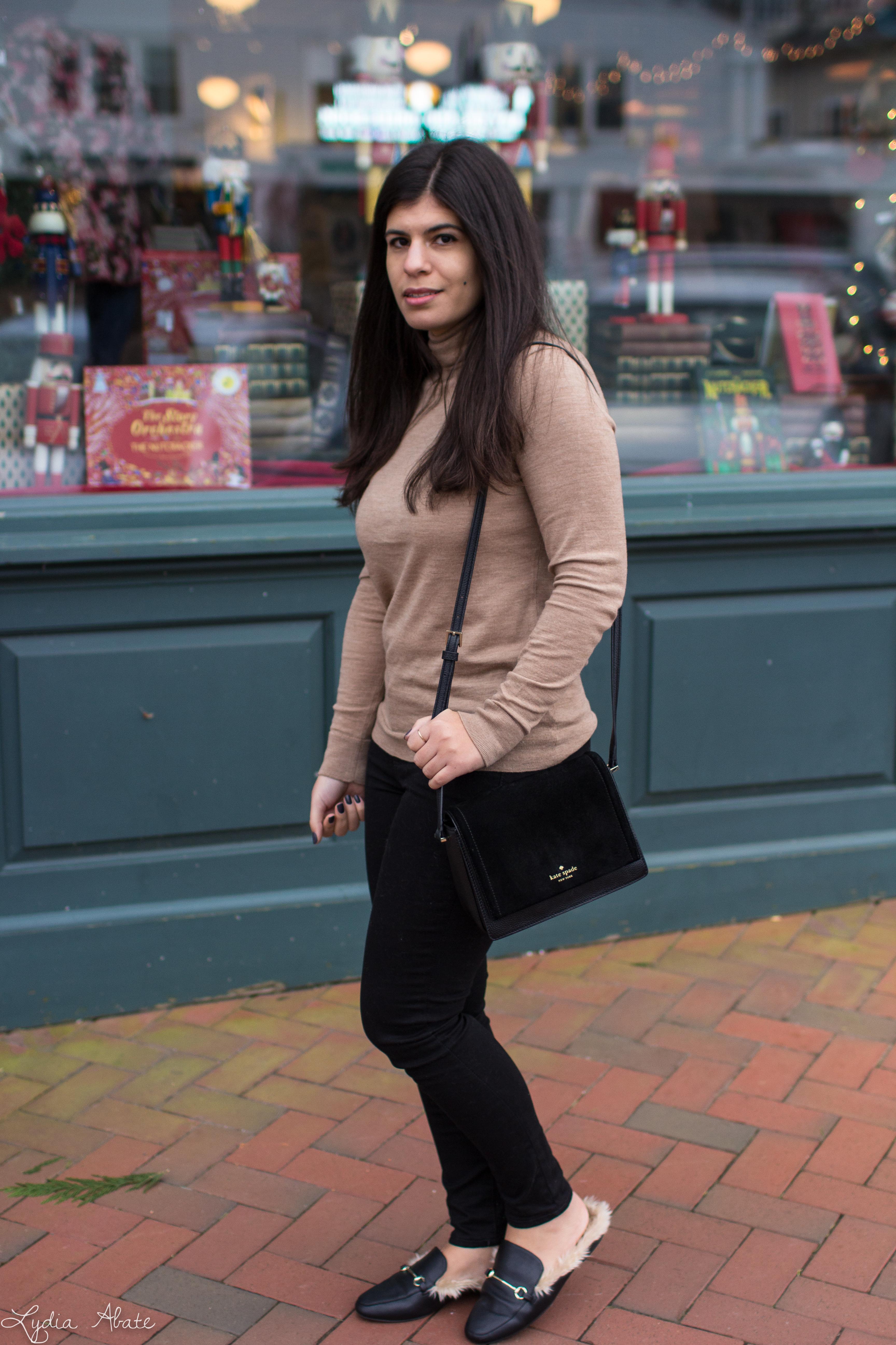camel turtleneck sweater, black jeans, fur mules-5.jpg