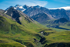 The Alaska Range mountains as seen from Eielson Visitors Center in Denali National Park on a clear sunny summer day
