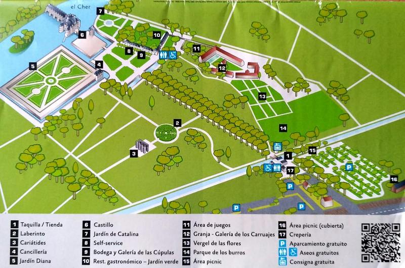 mapa plano castillo Chenonceau