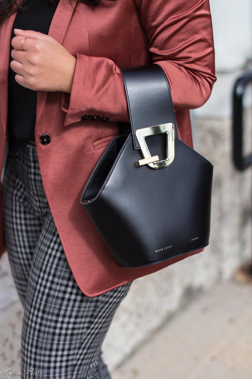 rust blazer, plaid pants, black pumps, danse lente bucket bag, scalloped cami-3.jpg