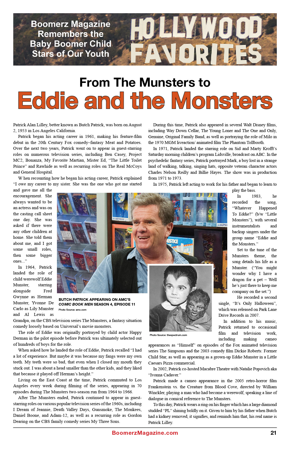 2018 October Boomerz Magazine Page 21 Hollywood Favorites Eddie and the Monsters