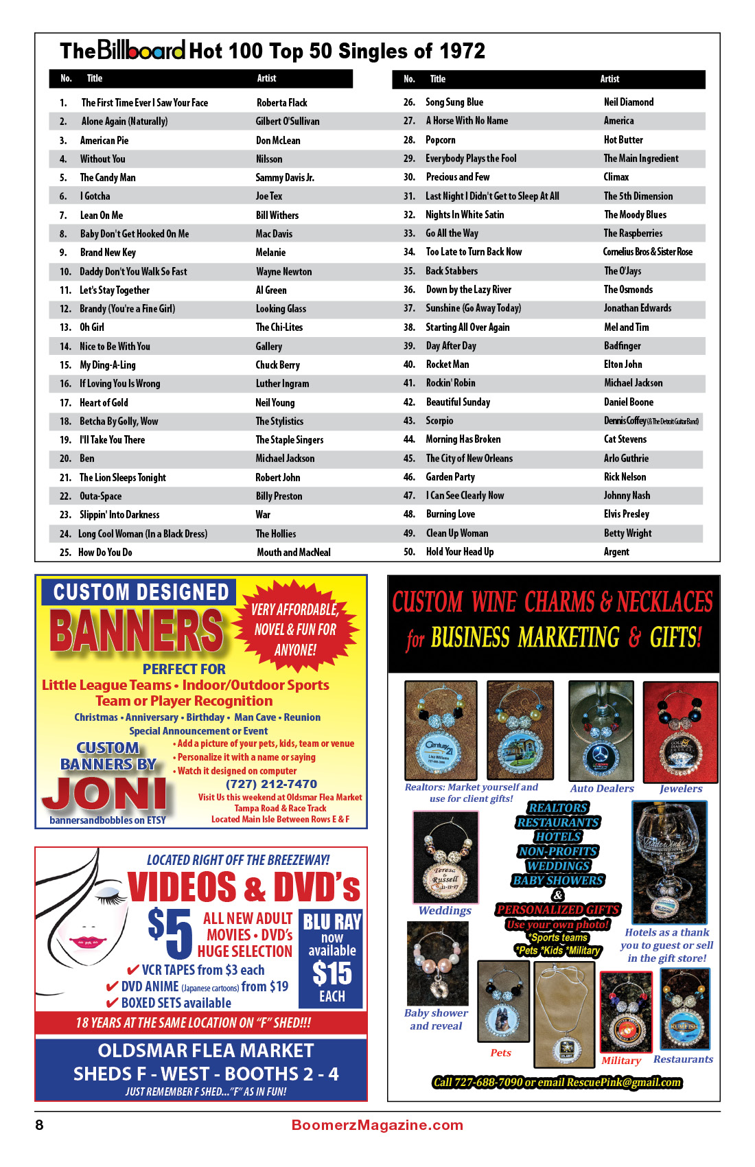 2018 October Boomerz Magazine Page 8 Billboard Hot 100 Top 50 Singles of 1972