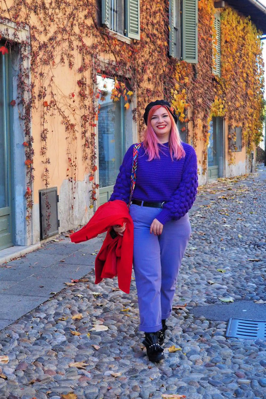 Outfit plus size curvy viola e rosso (3)