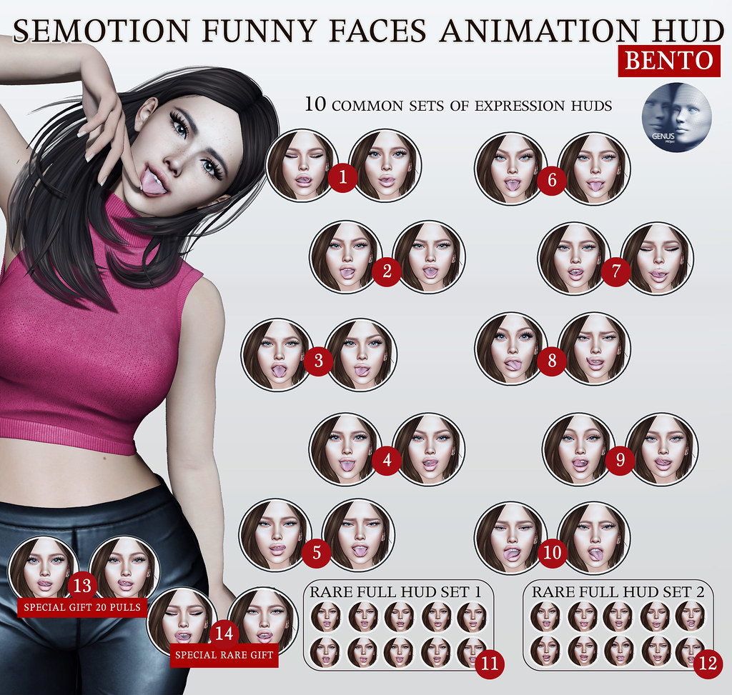 SEmotion Funny Faces Animation HUD Gacha for Genus heads @ Limit8