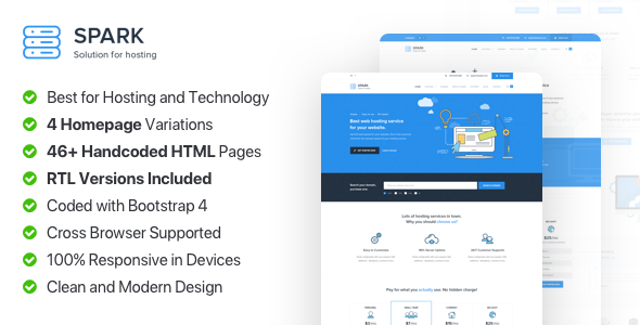 Spark Host - Responsive Hosting, Domain and Technology Template