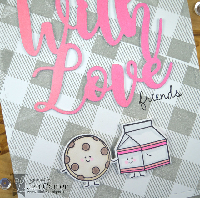 Jen Carter With Love Word die Perfect Pairs 2 stamps Perfect Pair 2 additions Cozy Plaid gray Closeup