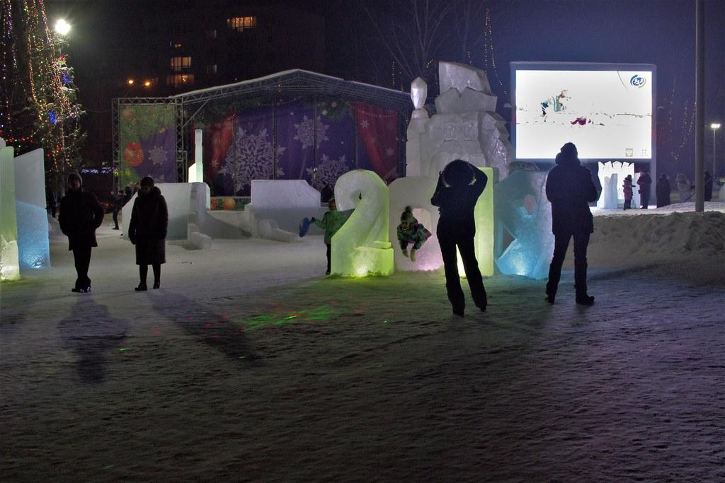 Новогодний городок на бульваре Строителей.