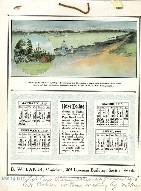 Rose Lodge calendar, 1910
