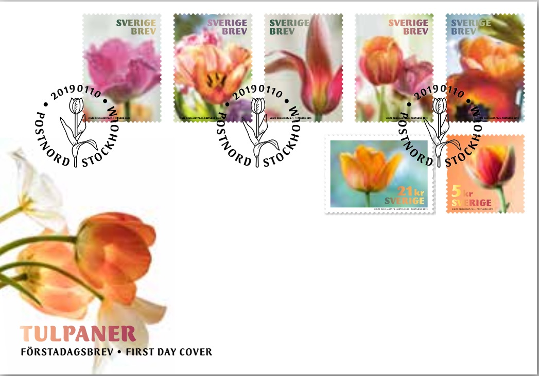 Sweden - Tulips (January 10, 2019) first day cover