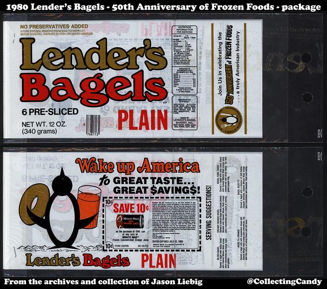 Lender's Bagels - Plain - 50th Anniversary of Frozen Foods - Minute Maid Orange Juice Coupon - 12oz food package bag - 1980
