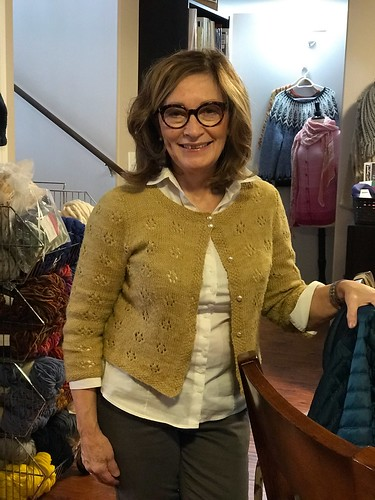 Mirna in a little cardi knit with Manos Milo