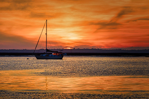 fernandina fernandinabeach amelia island ameliaisland ameliariver sunset water river clouds orange boat d810 nikon 70200mm florida