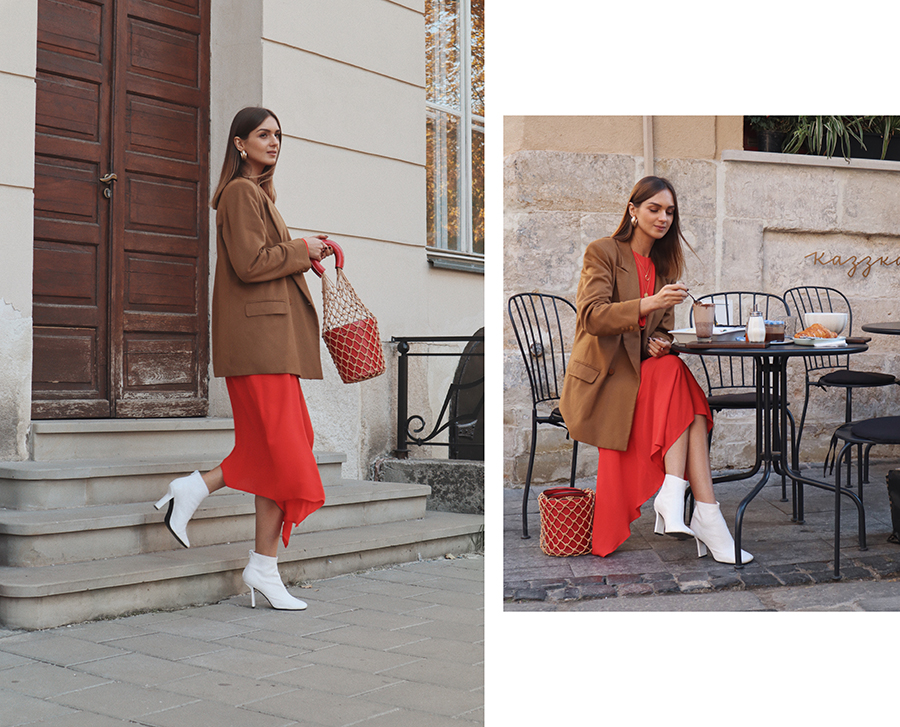 red-maxi-dress-outfit-camel-blazer-street-style
