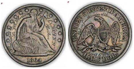 Boston Masonic Temple engraved half dollar
