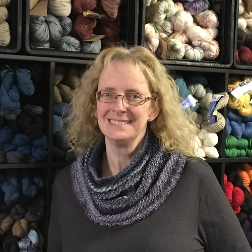 Linda in her finished Willow Cowl