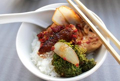 PORK BELLY AND BROCCOLI IN CHILI/HOISIN SAUCE