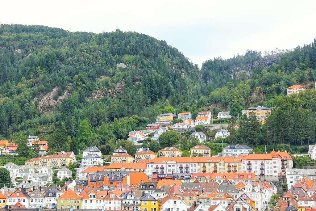 Bergen's colourful wooden houses, viewed from the hill above Bergenhus Fortress