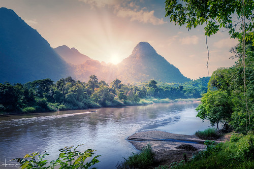thailand burma boarder river jungle sunset