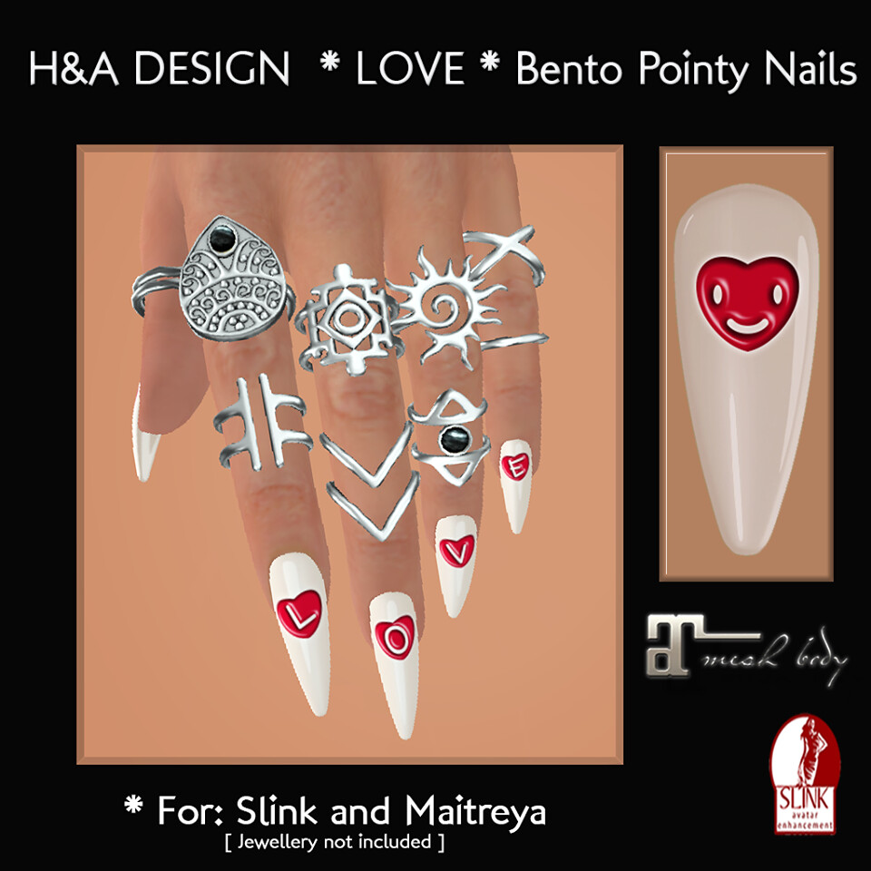 [H&A Designs]-Love Bento Pointy Nails
