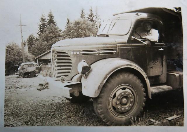 My Grandfather at the wheel of a REO dump truck (Valsetz, Oregon, summer '47)