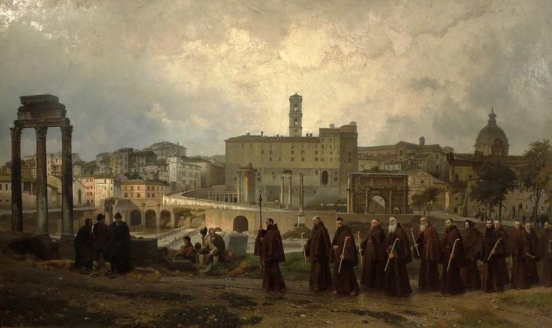 Wilhelm Riefstahl - Procesja kapucynów na Forum Romanum (1879)