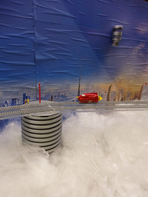 A Battlespace Turbo car floats above the clouds on the Aberdeen MRC GMRC winning layout.