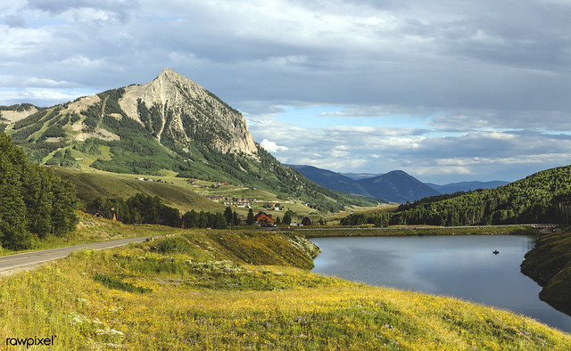 View of Meridian Lake and Mount Crested Butte above the Colorado city of Crested Butte on the high, dirt Washington Gulch Road in Gunnison County, Colorado USA - Original image from Carol M. Highsmith's America, Library of Congress collection. Digitally e