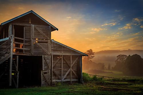 Backlit Barn