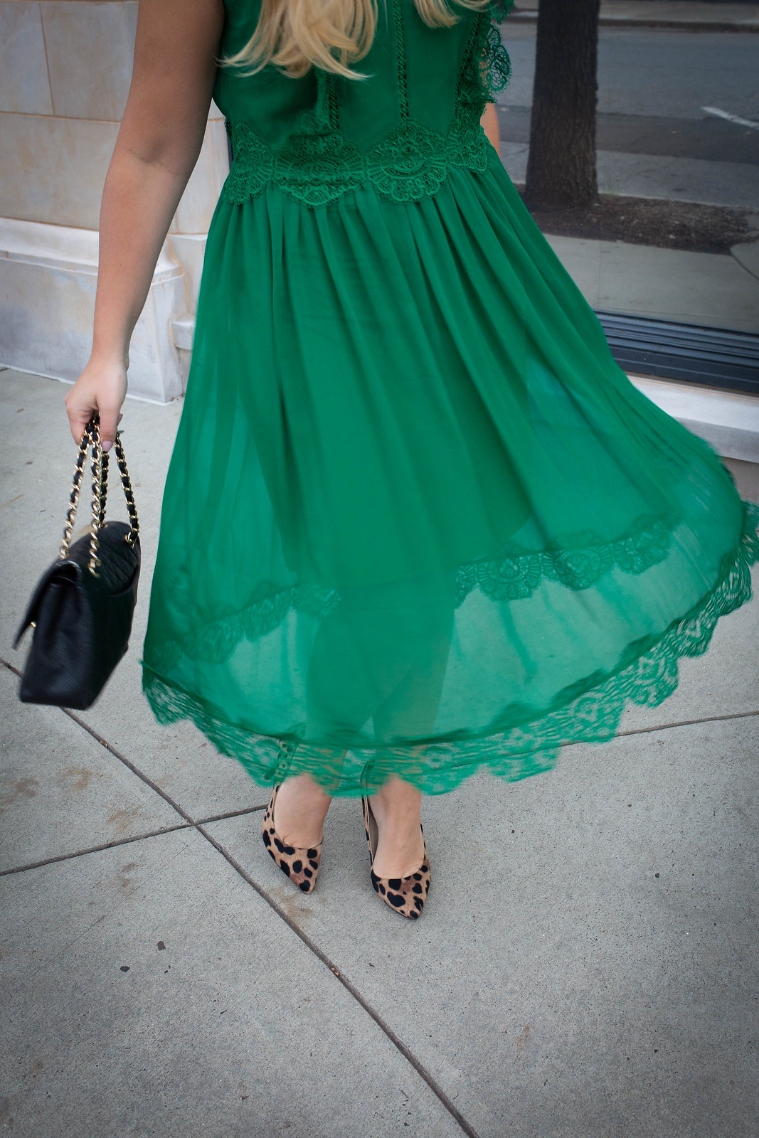 Move Over Red, I'm Going Green for Christmas | Ted Baker London Porrla Midi Dress Greenwich Ave Greenwich CT