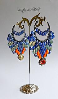 BOLLYWOOD Earrings paisleyduos gemduos swarovski thebeadsmith ilovebeads marthamollichella marthamollichellahandmadejewelry  Paisley duos HALO SKY; Gemduos Halo CERULEAN BLUE; Paisley duos Tutti frutti Cantaloupe; Swarovski Rivolis 14mm.