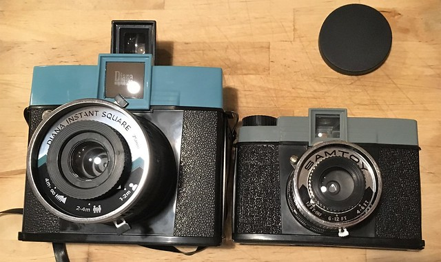 Lomography Diana Instant Square with Original Diana 120 camera Clone