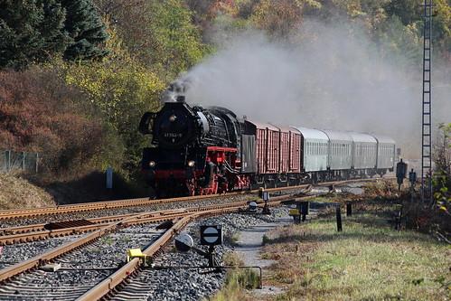 2018-10-20; 0097. IGE Werrabahn 41 1144-9 met DLr 403. Walldorf. Plandampf im Werratal, Dampffinale.