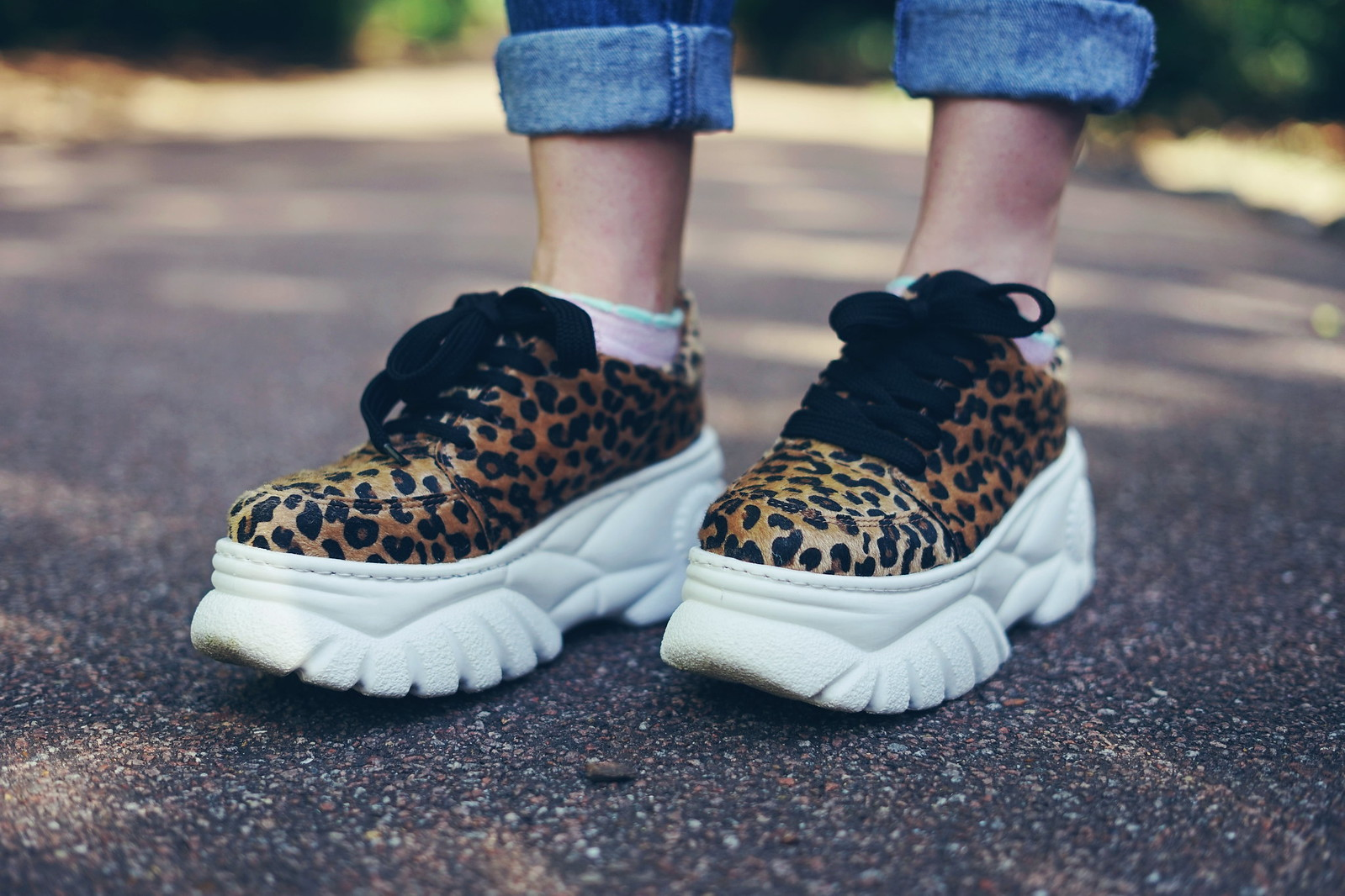 Leopard Platform Trainers and 90s Mom Jeans