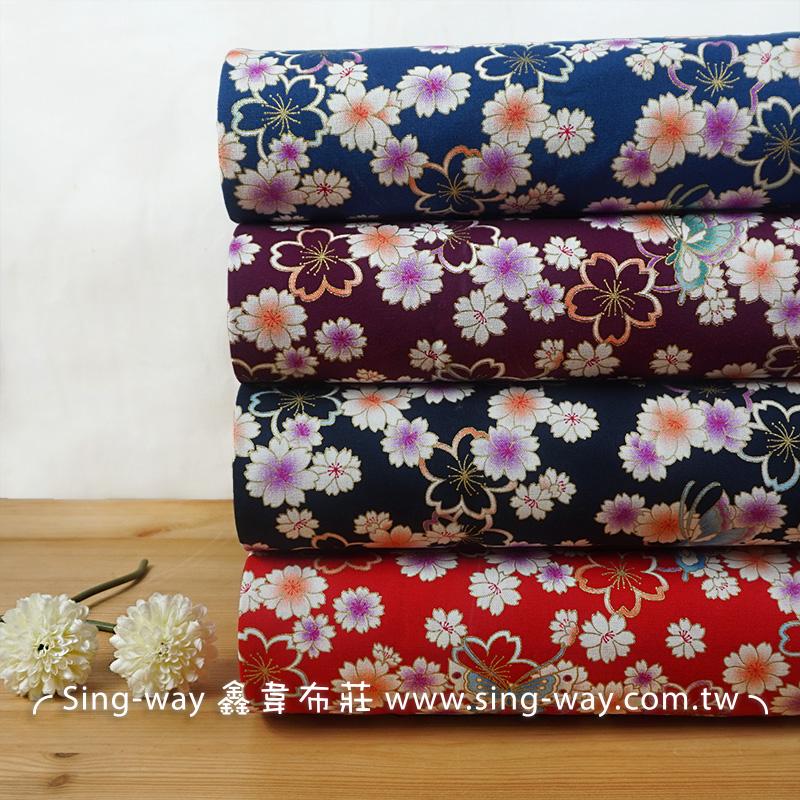 燙金蝶飛櫻 薔薇 花朵 さくら桜 滿版圖案 日式風CF550720