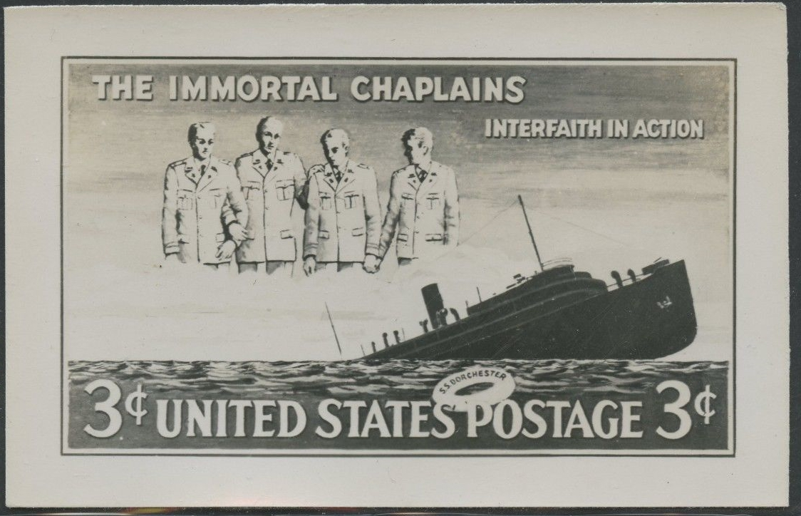 Unreleased design for the 1948 Four Chaplains stamp issue; photo essay.
