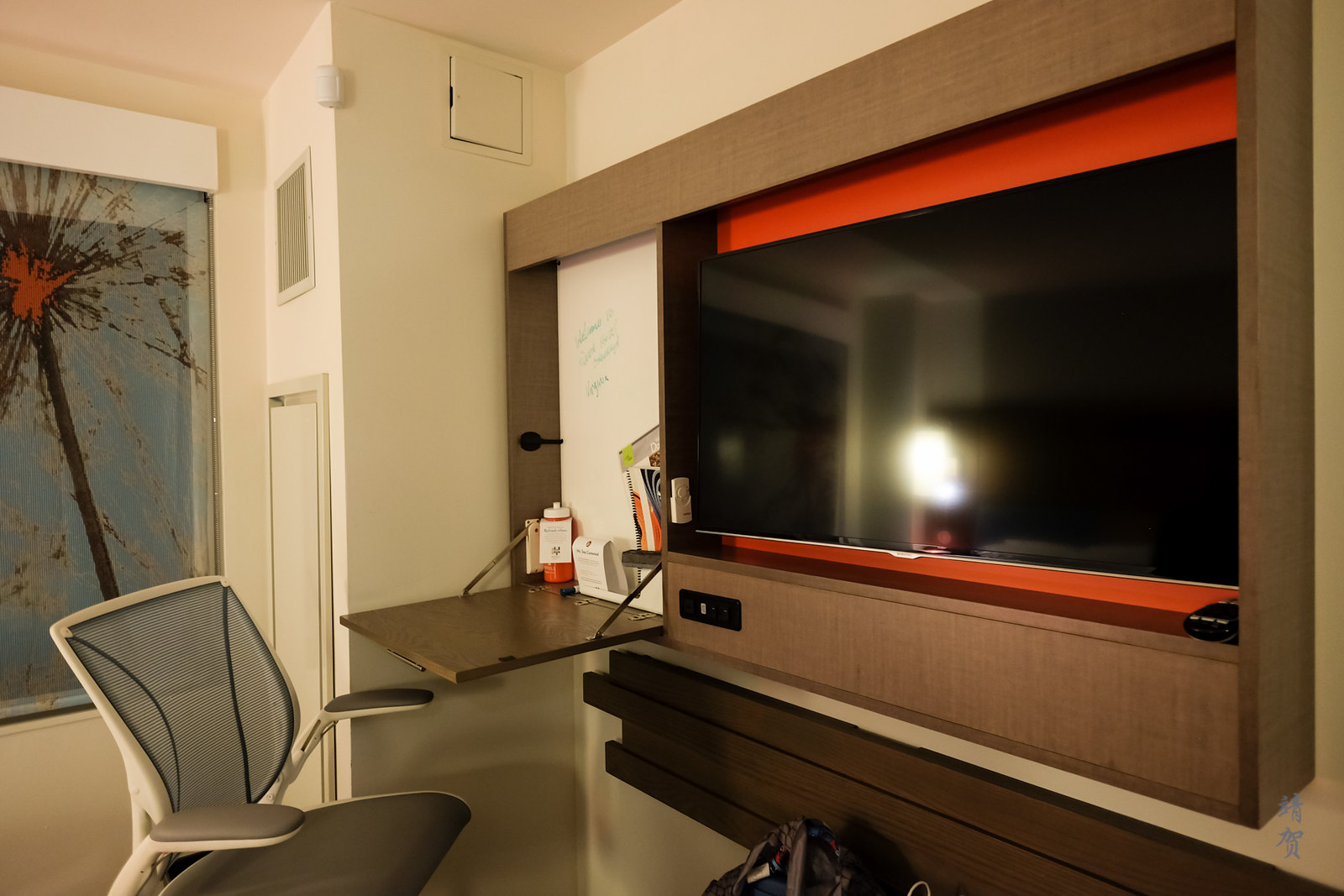 Fold down desk and TV