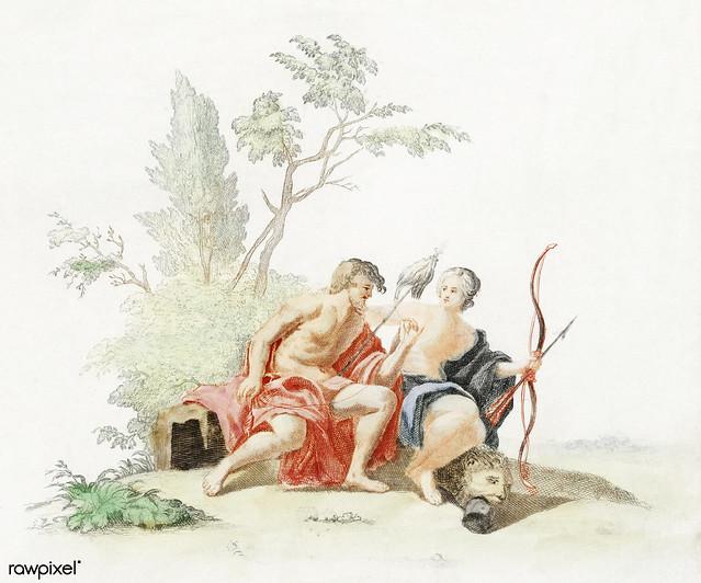Hercules and Omphale by Johan Teyler (1648-1709). Original from The Rijksmuseum. Digitally enhanced by rawpixel.