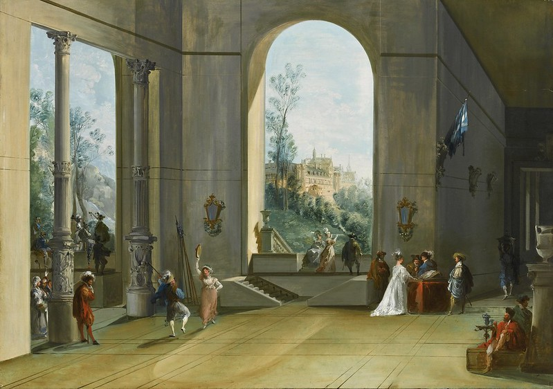 Giuseppe Bernardino Bison - Palace interior with figures