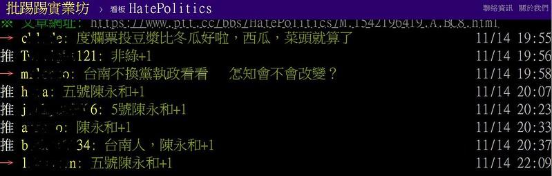陳永和里長的熱血事蹟打動不少網友,不少論壇都自發為陳永和拉票造勢_圖片擷取自PTT