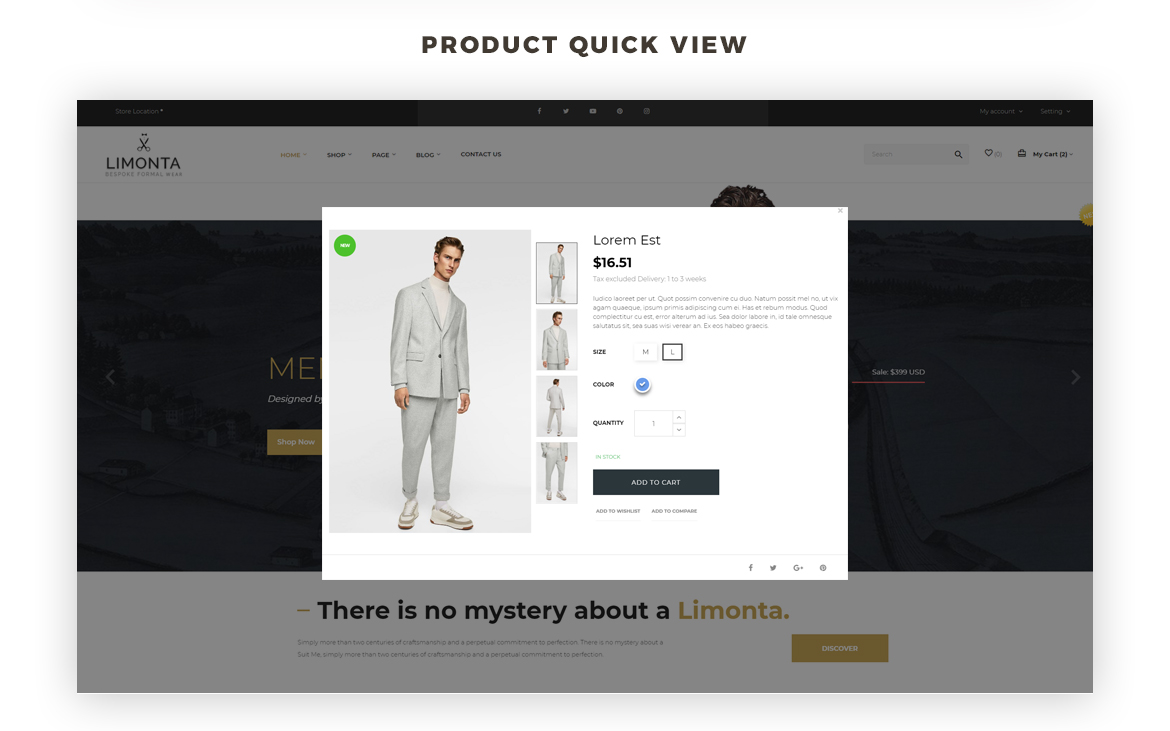product quickview - best men fashion prestashop theme