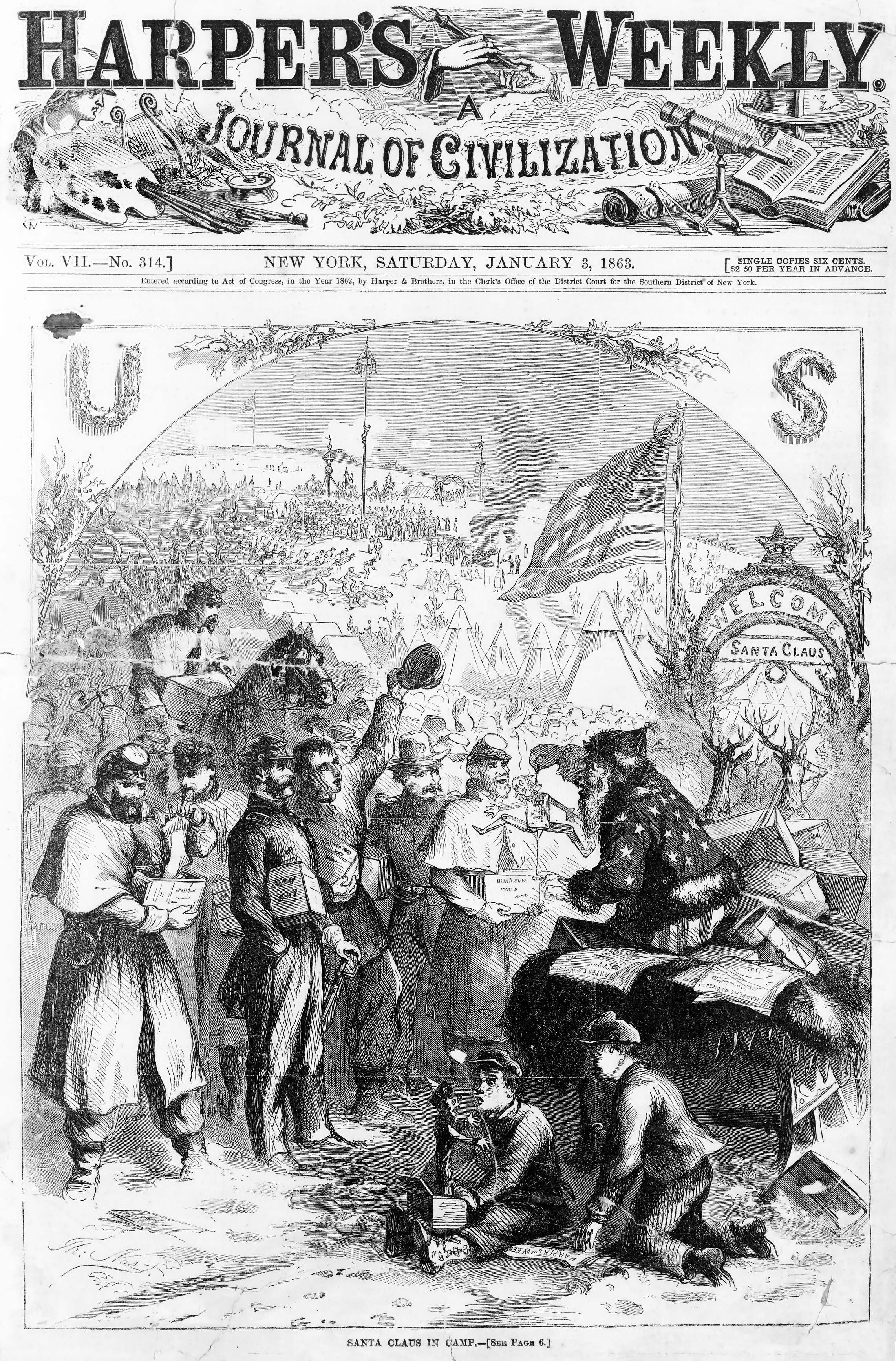 January 3, 1863 cover of Harper's Weekly by Thomas Nast,, one of the first depictions of Santa Claus.