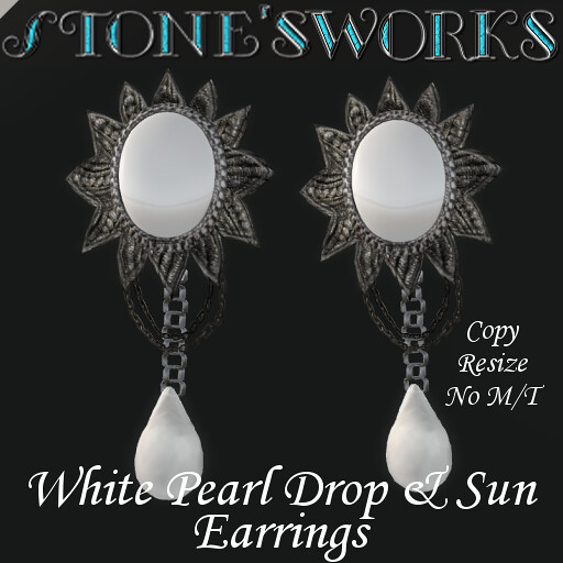White Pearl and Sun Earring Set