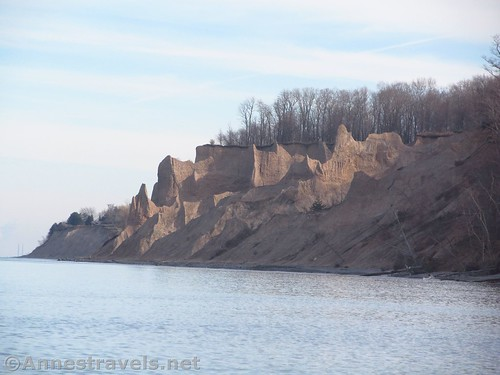 Zoomed picture of the bluffs from below Garner Point in Chimney Bluffs State Park, New York