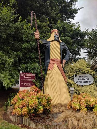 Corrugated iron Jesus, Tirau, New Zealand