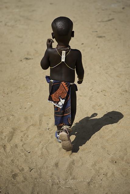 Young boy from Mukubal tribe. Near Virei, Namibia. angola.