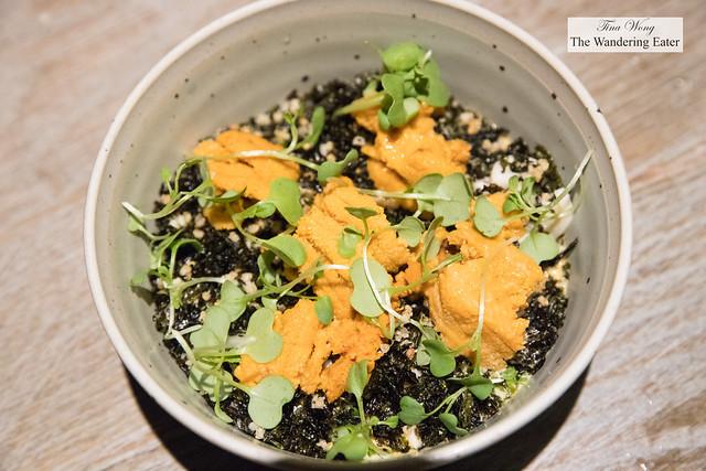 Steamed egg custard, fresh Maine sea urchin, gim, heart of palm