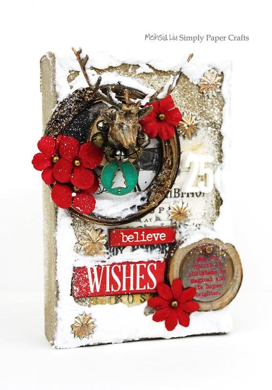 Meihsia Liu Simply Paper Crafts Mixed Media Canvas Warm Winter Wish Simon Says Stamp Tim Holtz Prima Flowers 2
