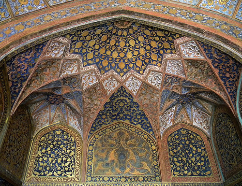 Painted ceiling at Akbar's Mausoleum in Agra, India
